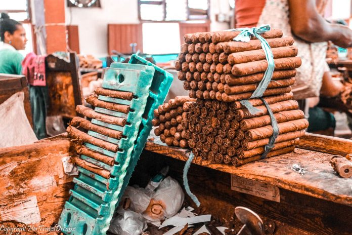 Tabaco factory in Trinidad, Cuba. My Cuban Story - background.