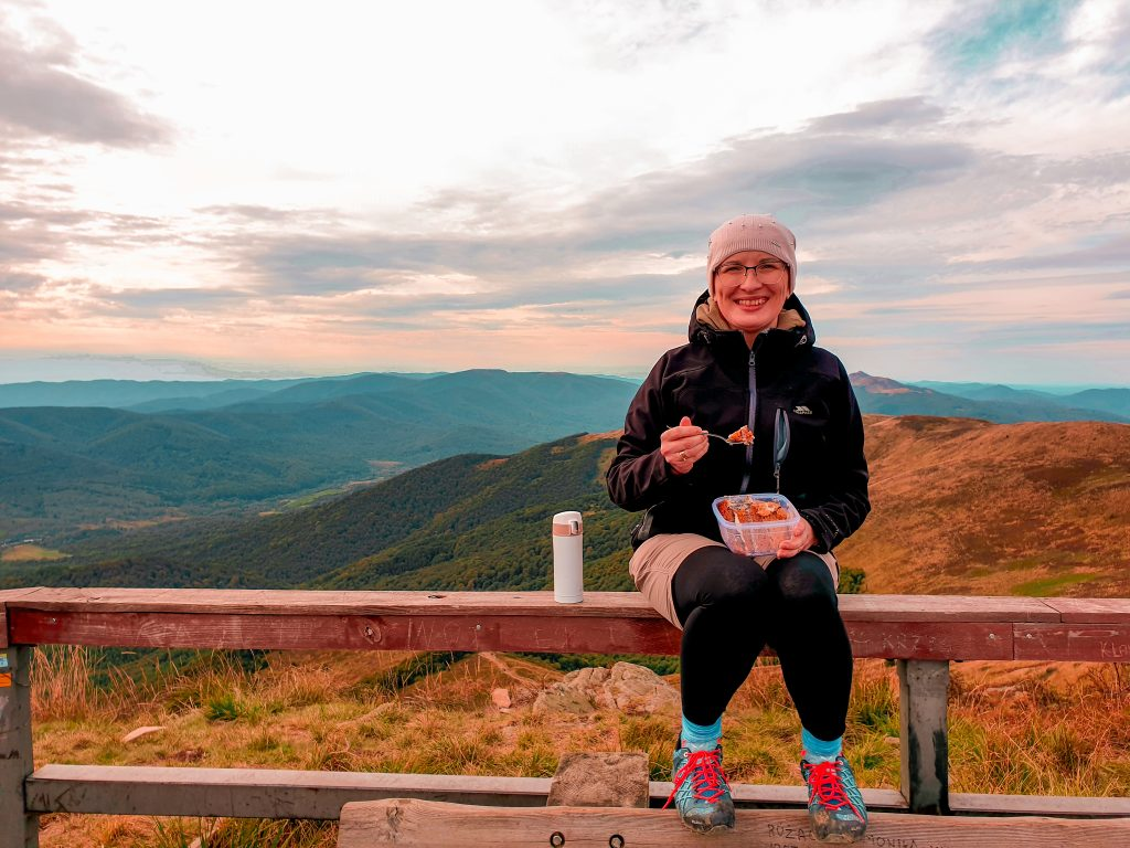 Eating birthday cake on the top of Tarnica